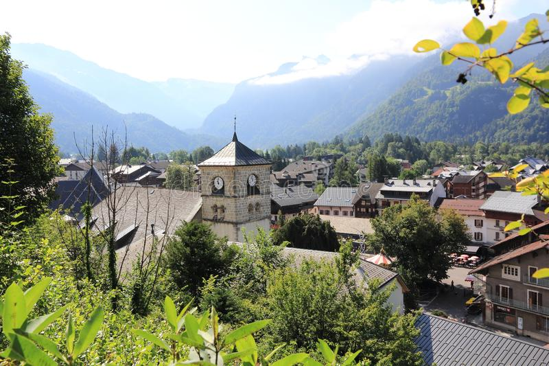Samoens in the French Alps. Magnifient village in the Alps, Haute-Savoie stock photo