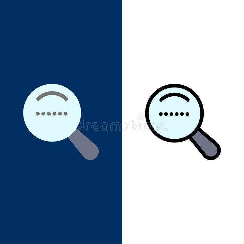 Magnifier, αναζήτηση, εικονίδια Dote Επίπεδος και γραμμή γέμισε το καθορισμένο διανυσματικό μπλε υπόβαθρο εικονιδίων διανυσματική απεικόνιση