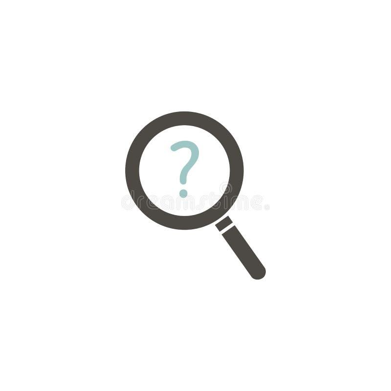 Magnifier με το ερωτηματικό Διανυσματικό επίπεδο εικονίδιο διανυσματική απεικόνιση