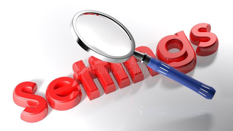 Magnifier στις κόκκινες τοποθετήσεις - τρισδιάστατη απόδοση διανυσματική απεικόνιση
