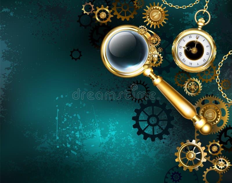 Magnifier στο υπόβαθρο Steampunk ύφους steampunk ελεύθερη απεικόνιση δικαιώματος