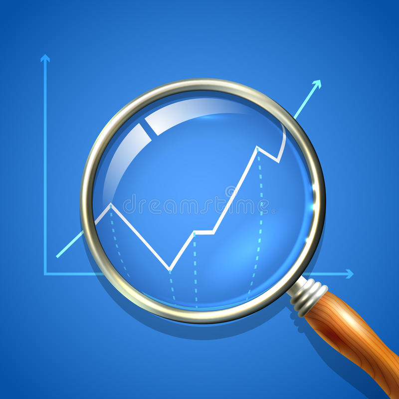 Magnifier and chart. Analysing business finance diagnostics data search concept vector illustration stock illustration