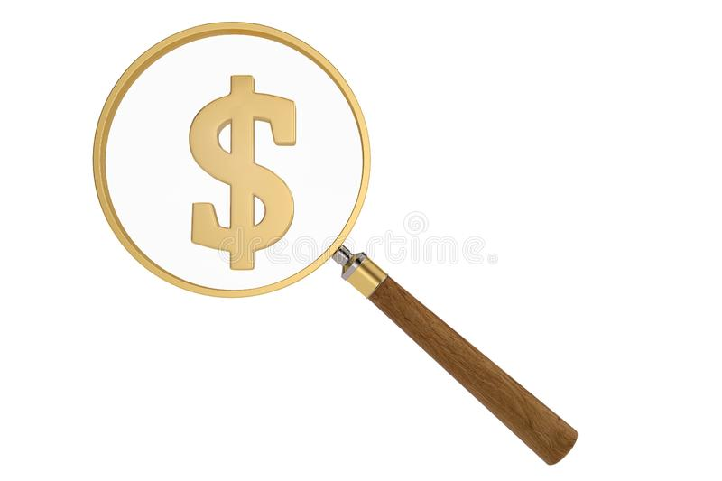 Magnifier and dollar sign isolated on white background, 3D illustration.  stock illustration