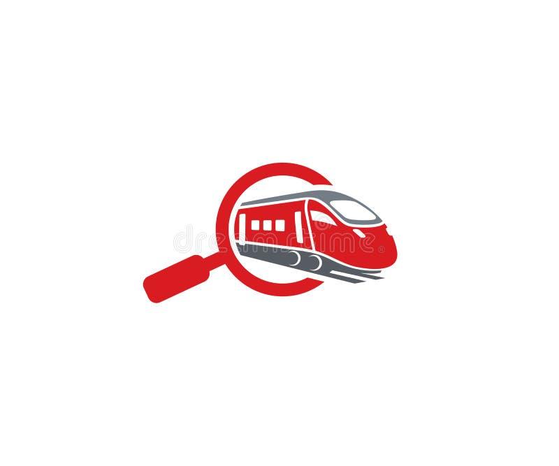 Magnifier en treinembleemmalplaatje Zoek naar het vectorontwerp van spoorvluchten royalty-vrije illustratie