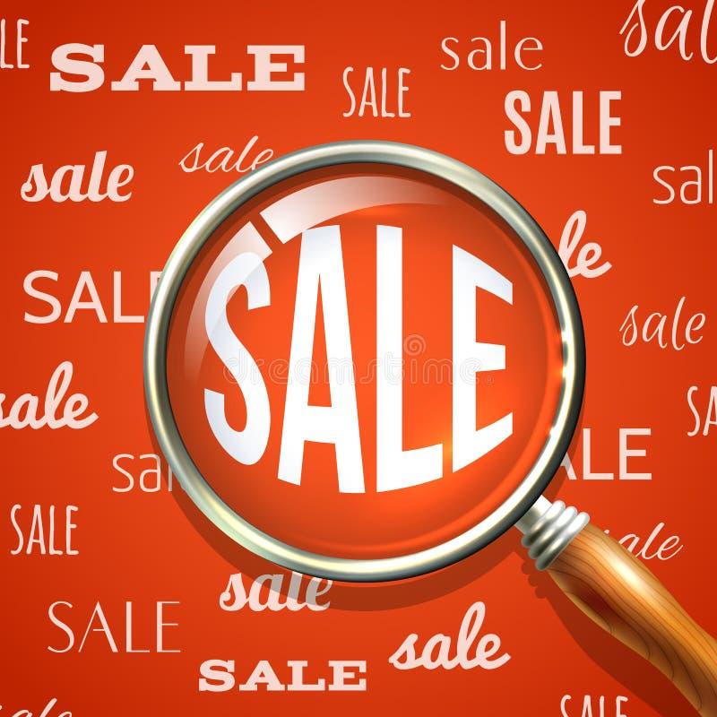 Magnifier en verkoop royalty-vrije illustratie
