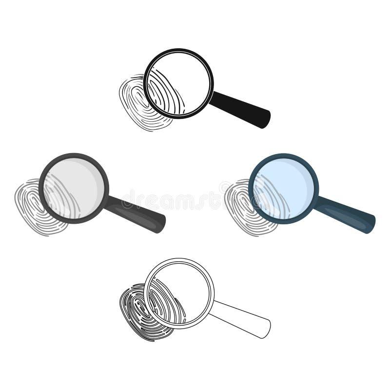 Magnifier en vingerafdruk Opsporing van misdadigers door vingerafdruk Gevangenis enig pictogram in beeldverhaal, zwart stijl vect vector illustratie