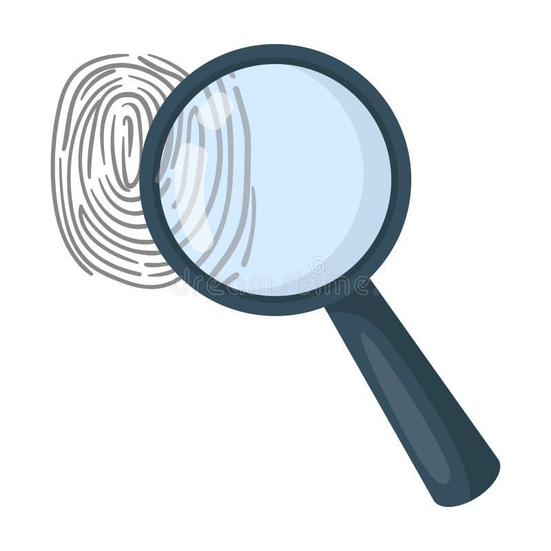 Magnifier en vingerafdruk Opsporing van misdadigers door vingerafdruk Gevangenis enig pictogram in vector het symboolvoorraad van royalty-vrije illustratie
