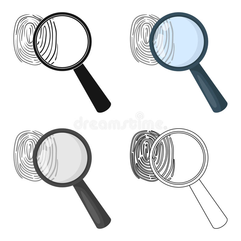 Magnifier en vingerafdruk Opsporing van misdadigers door vingerafdruk Gevangenis enig pictogram in vector het symboolvoorraad van stock illustratie