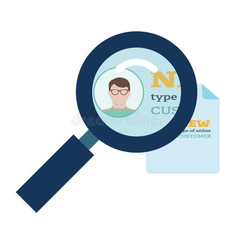 Magnifier enlarges the document on which is the person in glasses in flat style vector illustration