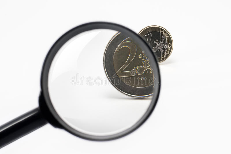 Download Magnifier and euro coin stock photo. Image of market - 27356212