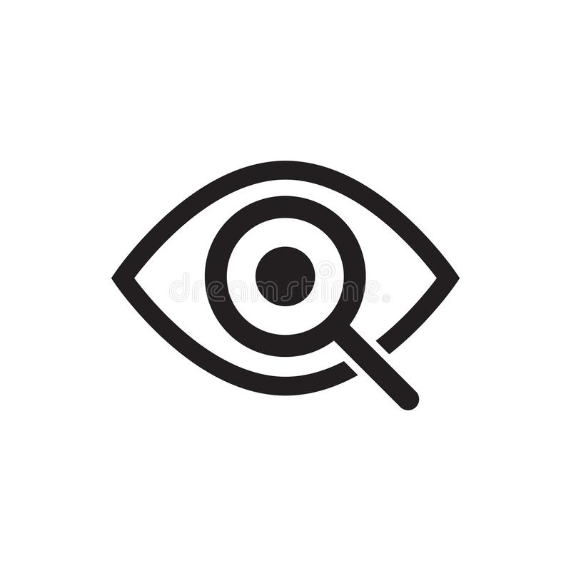 Magnifier with eye outline icon. Find icon, investigate concept symbol. Eye with magnifying glass. Appearance, aspect, look, vector illustration
