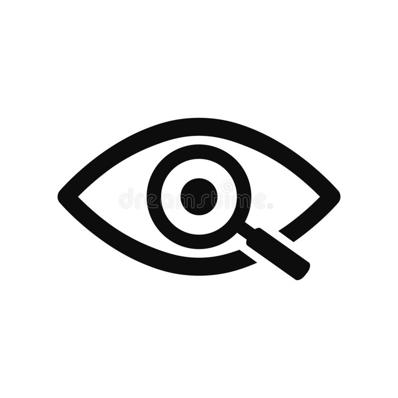 Magnifier with eye outline icon. Find icon, investigate concept symbol. Eye with magnifying glass. Appearance, aspect, look, view. stock illustration