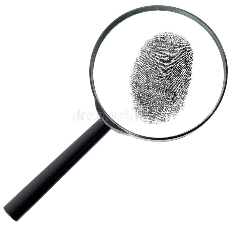 Magnifier and fingerprint isolated on white. Big magnifier and fingerprint isolated on a white background royalty free stock photography