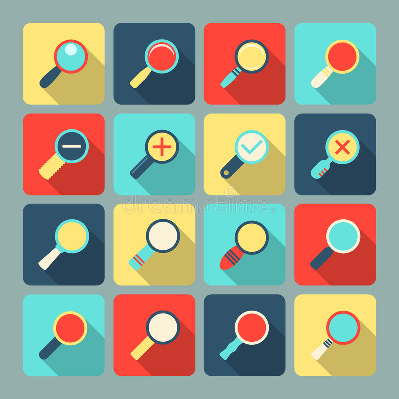 Download Magnifier flat icon set stock vector. Illustration of magnifying - 39502948