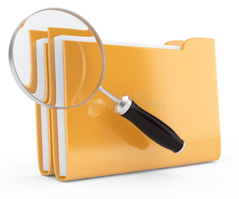 Magnifier And Folders Stock Photos