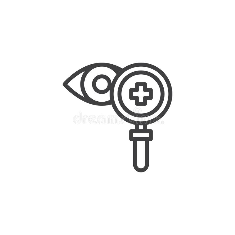 Magnifier glass and eye outline icon royalty free illustration