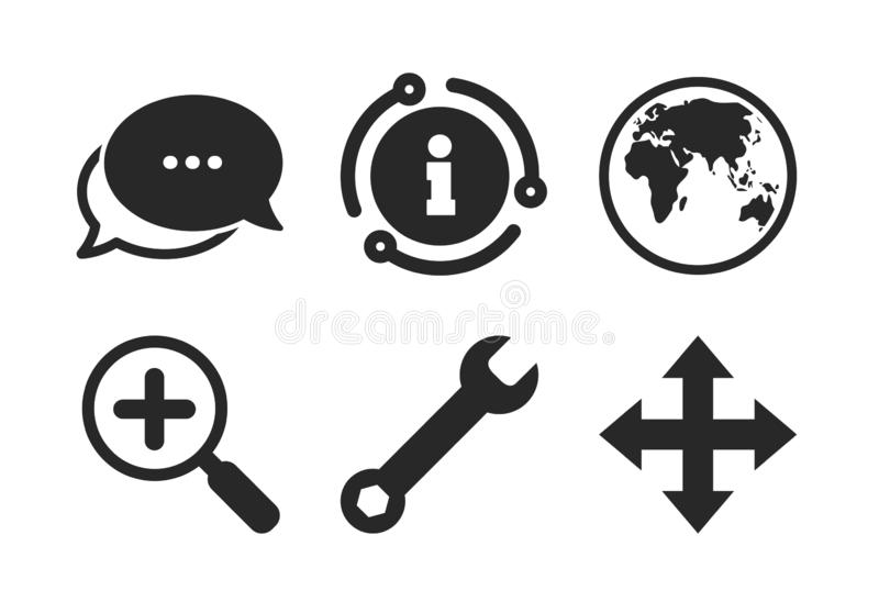 Magnifier glass and globe signs. Fullscreen. Vector. Fullscreen arrows and wrench key repair sign symbols. Chat, info sign. Magnifier glass and globe search stock illustration