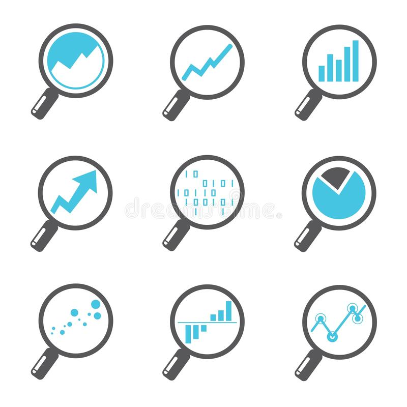 Magnifier glass icons. Set of 9 magnifier glass and analytics icons stock illustration