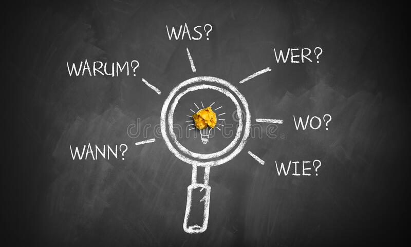 Magnifier glass with the words `when, why, what, who, where, how` in German. Magnifier glass on a blackboard with the words `when, why, what, who, where, how` in stock photography