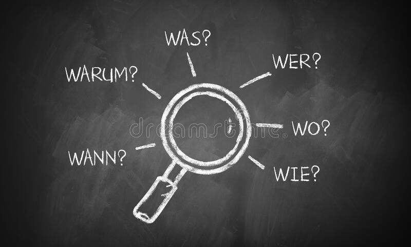 Magnifier glass with the words `when, why, what, who, where, how` in German. Magnifier glass on a blackboard with the words `when, why, what, who, where, how` in royalty free stock image