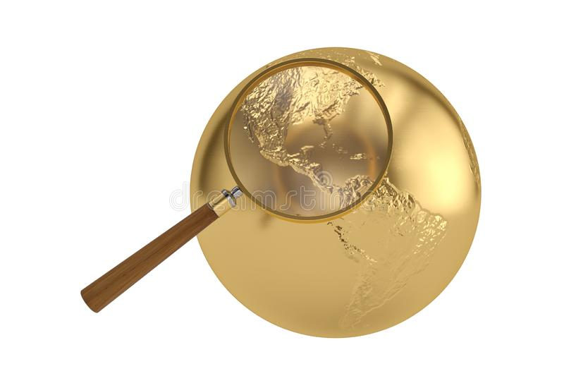 Magnifier and globe isolated on white background, 3D illustration stock illustration