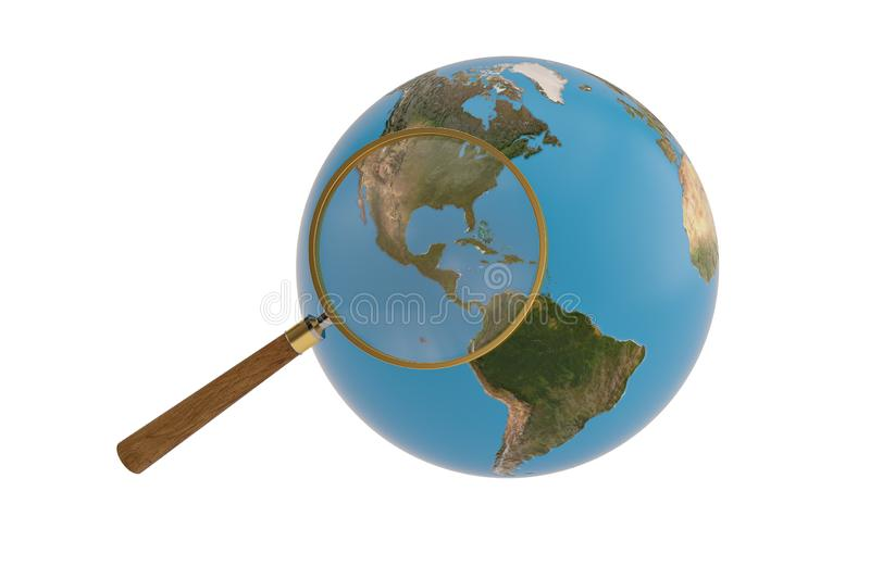 Magnifier and globe isolated on white background, 3D illustration.  stock illustration
