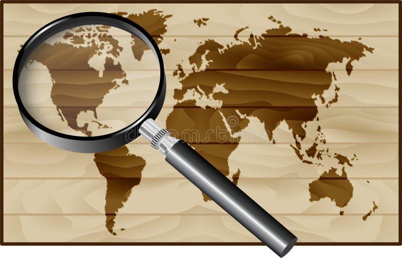 Magnifier i Światowa mapa na drewnianym tle ilustracji