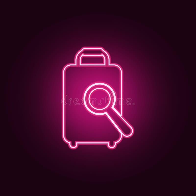magnifier i baga?u ikona Elementy lotnisko w neonowych stylowych ikonach Prosta ikona dla stron internetowych, sie? projekt, mobi royalty ilustracja