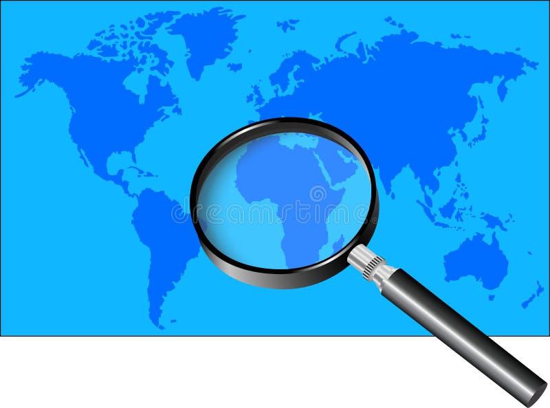 Magnifier i ?wiatowa mapa ilustracja wektor