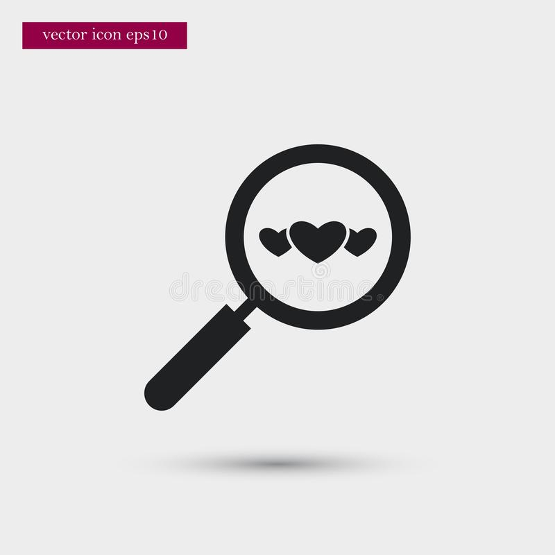 Magnifier icon. Simple romance element illustration. Valentine symbol design from love collection. Can be used in web and mobile royalty free illustration