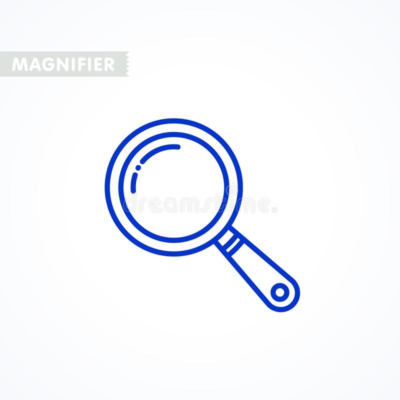 Magnifier ikona kontur projektuję powiększać - szkło cienka kreskowa ikona, liniowy piktogram odizolowywający na bielu ilustracja wektor