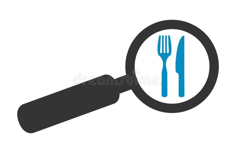 Magnifier ikony restauracja lub jedzenie ilustracji