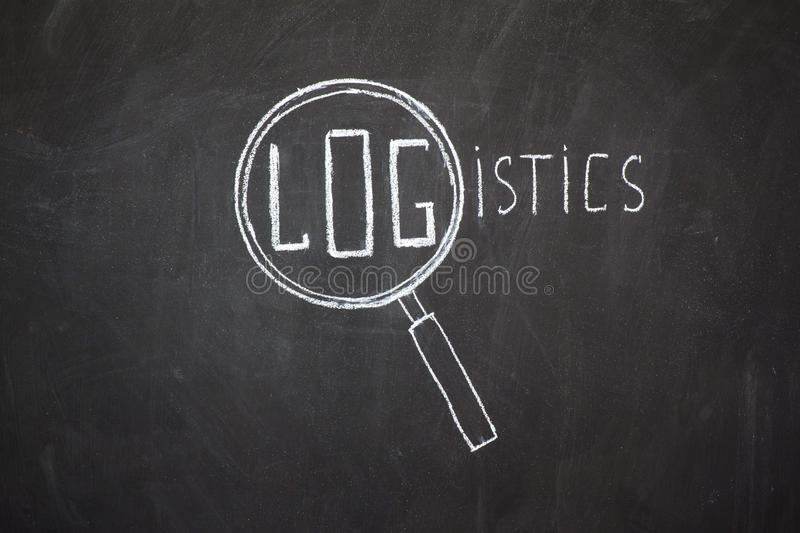 Magnifier and 'Logistics' word. Sketched with chalk on blackboard stock photos