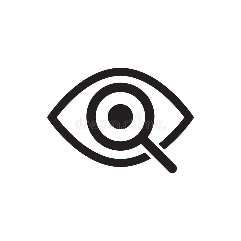 Magnifier met het pictogram van het oogoverzicht Vind pictogram, onderzoek conceptensymbool Oog met vergrootglas De verschijning, vector illustratie