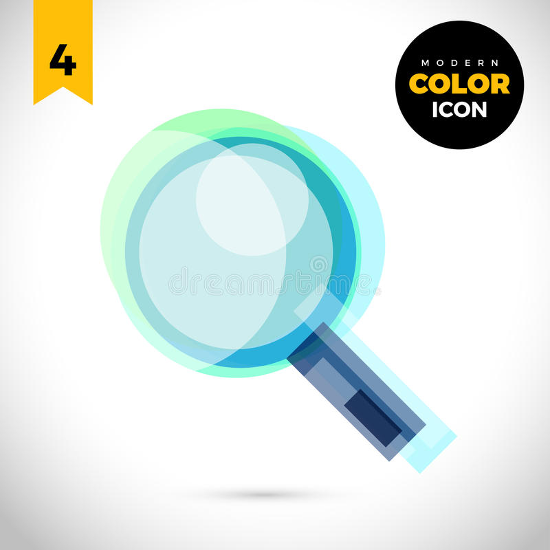 Magnifier Modern Color Icon for web. New creative design symbol. stock illustration