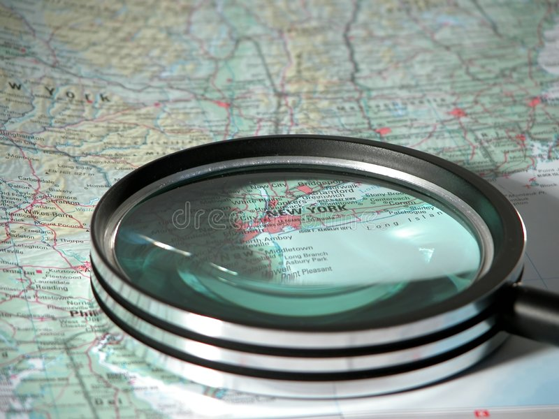 Magnifier Nowego Jorku Nad Obraz Royalty Free