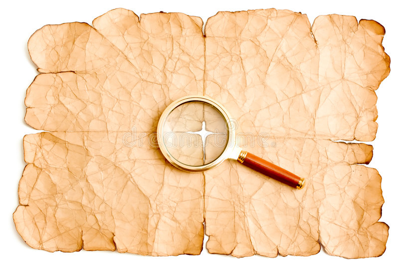 Magnifier And Old Paper Royalty Free Stock Photos