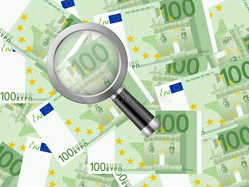 Magnifier op euro achtergrond honderd royalty-vrije illustratie