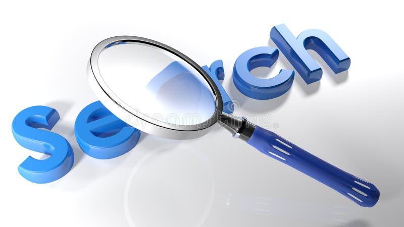 Magnifier over blauw 3D onderzoek - het 3D teruggeven vector illustratie