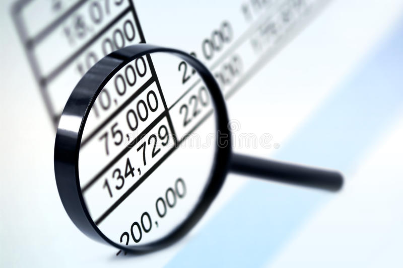 Download Magnifier over Figures stock photo. Image of blue, audit - 11268148