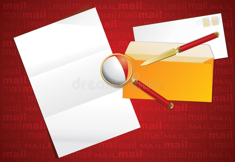 Download Magnifier, Paper Knife And Layout Letter. Stock Vector - Image: 16165809