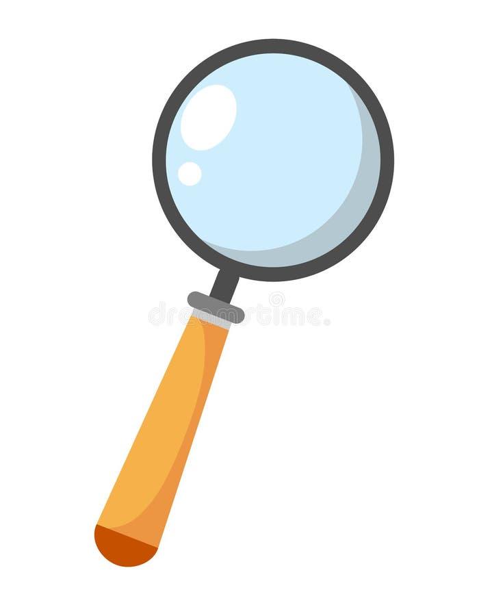 Magnifier rewizji przekładni znak, magnifier badania zoom tła ilustracyjny rekinu wektoru biel ilustracja wektor