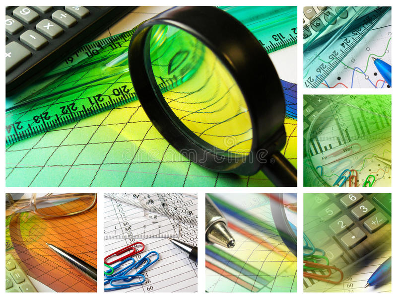 Magnifier, ruler and calculator royalty free stock images