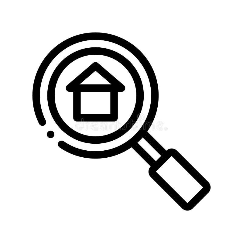 Magnifier Search Estate Vector Thin Line Icon vector illustration