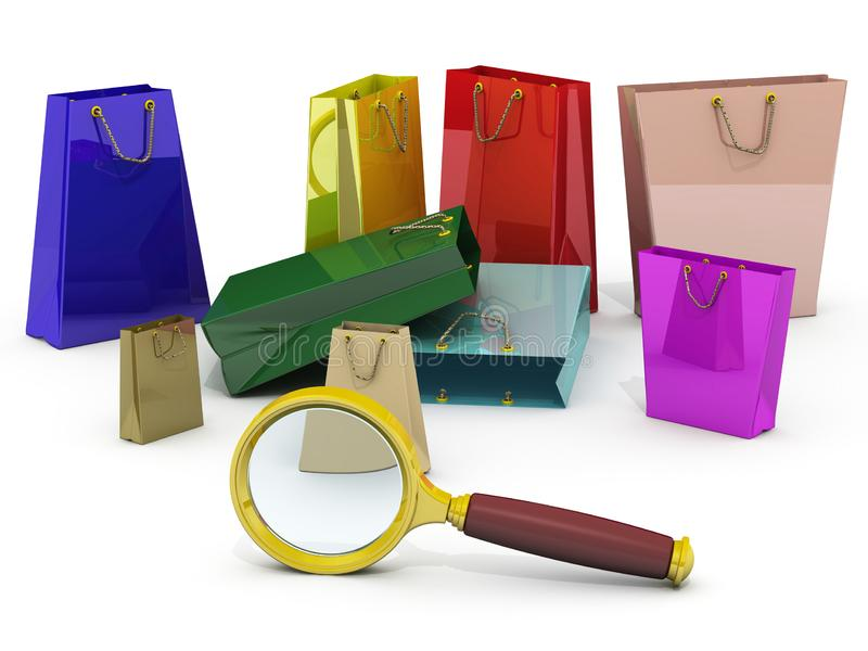 Search for bargains. Magnifier and shopping bags on white surface. Isolated. 3D Illustration stock illustration