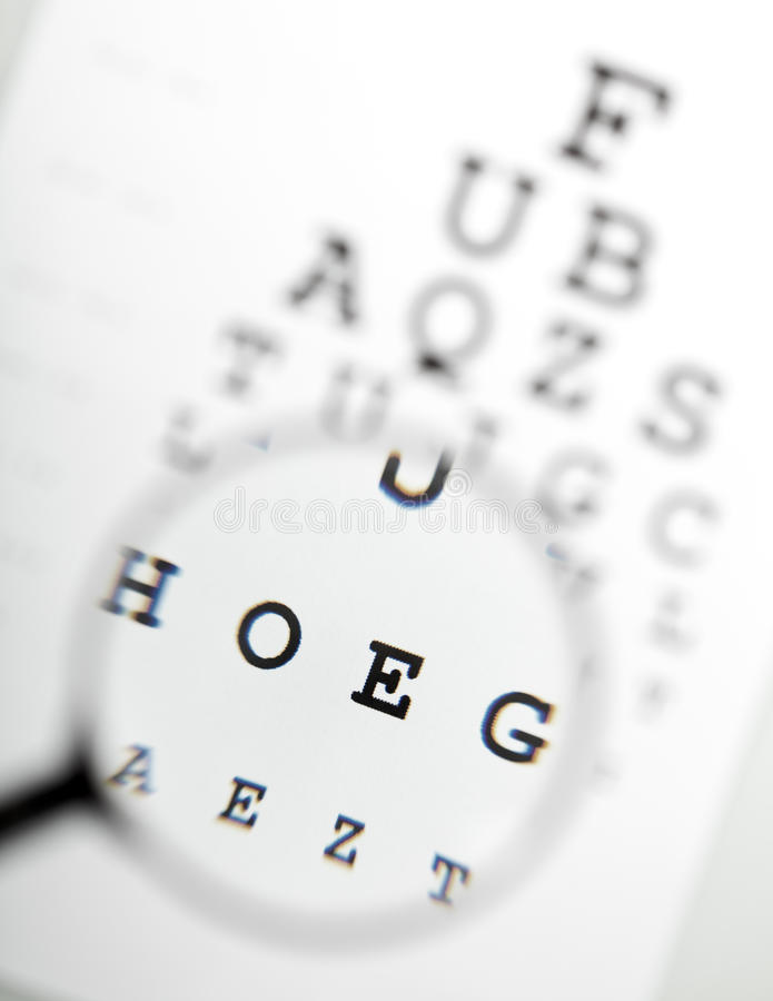 Magnifier sobre a carta de olho imagens de stock