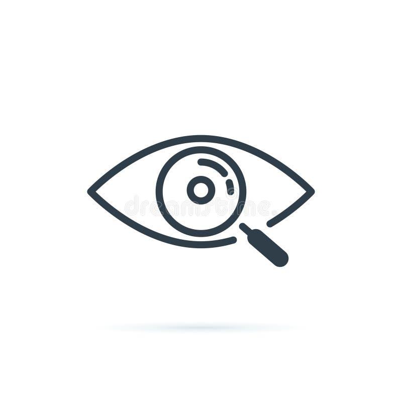 Magnifier z oko konturu ikon? Znalezisko ikona, prowadzi dochodzenie poj?cie symbol Oko z powi?ksza? - szk?o Pojawienie, aspekt royalty ilustracja