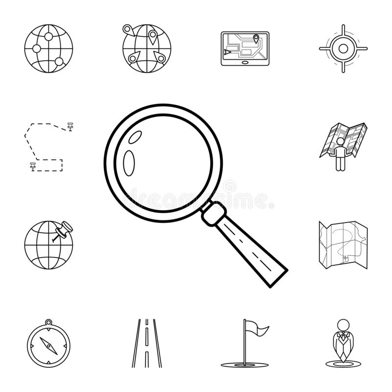Magnifierpictogram Gedetailleerde reeks navigatiepictogrammen Premie grafisch ontwerp Één van de inzamelingspictogrammen voor web royalty-vrije illustratie