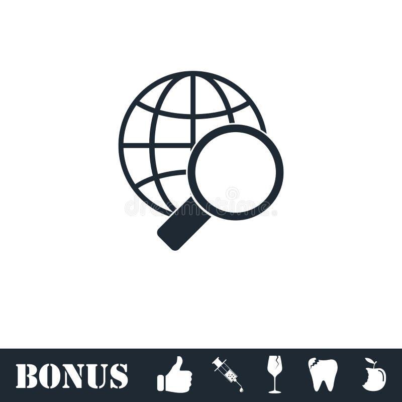 Magnifique el plano del icono del globo stock de ilustración