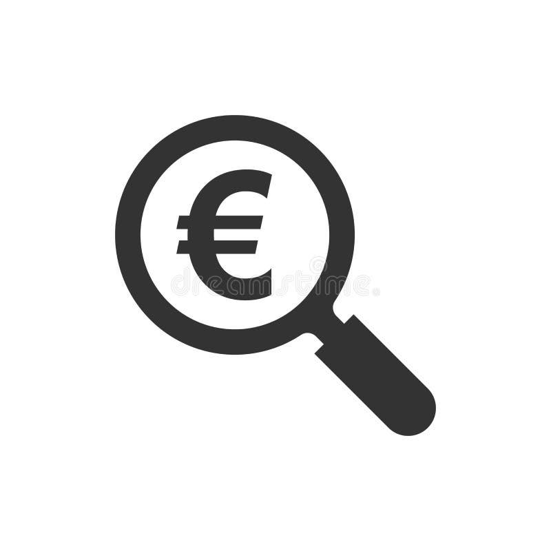 Magnifique el vidrio con el icono euro de la muestra en estilo plano Lupa, dinero VE ilustración del vector